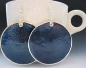 Navy Blue Round Capiz Shell Earrings