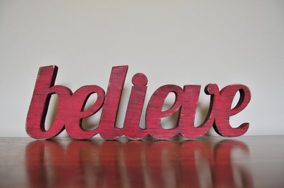 Christmas Decor, Believe, Wood Word Decoration
