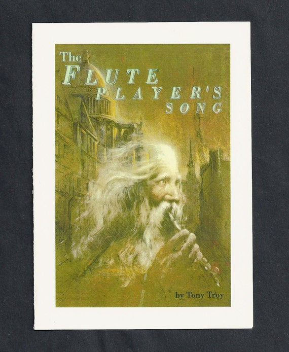 The Old Flute Player Blank Greeting Card by Tony Troy