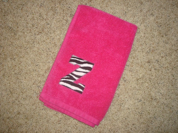 Black and White Zebra monogrammed hand towel - Sport Sweat Towel