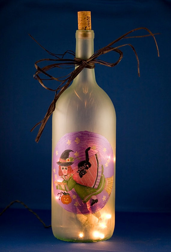 Halloween Lamp Flying Witch Lighted Wine Bottle By
