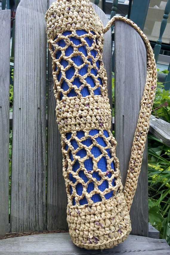Crochet Plastic Bag Tote Pattern : Hot Yoga Mat Bag Recycled Plastic Bag Crochet Tote Brown Woven Carrier ...