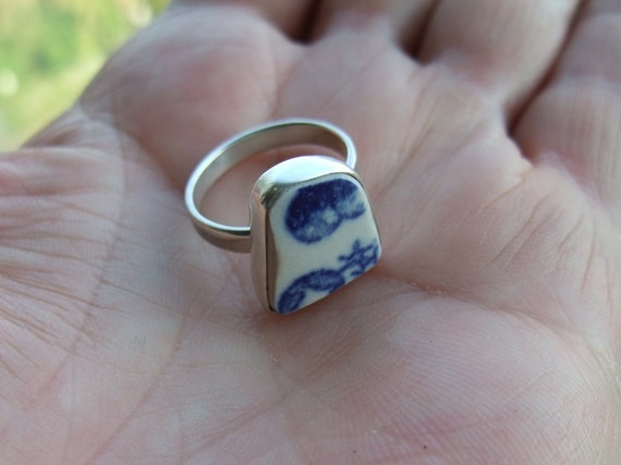 Blue Beach Pottery Ring Sterling Silver Size 6 3/4