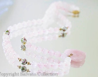 Rose Quartz Necklace - Gold Plated Sterling Silver with Cloisonne Beads