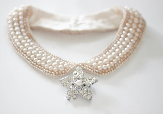 Reserved Pink Vintage Japan Pearl Collar Lined with additional Rhodium Plated Rhinestone Star Brooc