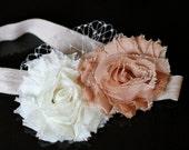 Vintage shabby chic chiffon flower champagne headband - Baby Headband - Flower Girl Headband - Infant Headband