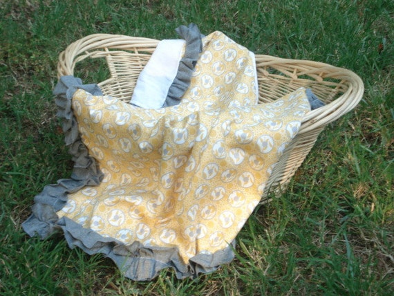 Yellow and Gray Baby Blanket