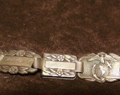 Antique Sterling Silver MARINE CORPS Forget Me Not Bracelet from World War II