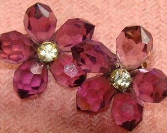 Beautiful  Purple Amethyst Flower Earrings