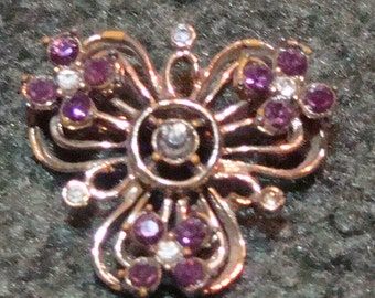 Vintage Brooch with Lavender and Clear Rhinestones
