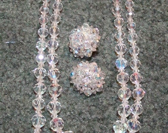 Gorgeous Vintage Graduated Aurora Borealis Crystal Necklace and Earrings