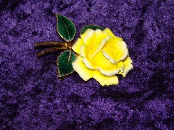 West Germany Yellow Rose Vintage Brooch