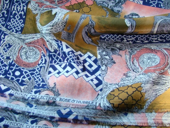 Lovely Patterned Silky Vintage Fabric by London Collection Rose & Hubble