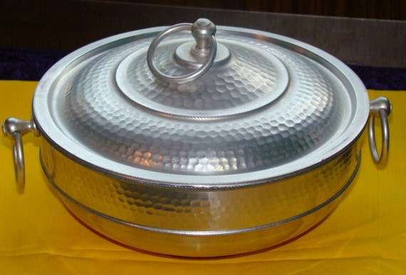 Vintage Hammered Aluminum Casserole Dish Made in Italy