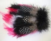 Hot Pink & Black Polka Dot Feathers Hair Clip and Pin