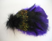 Purple and Black with Green Pheasant Feather Hair Clip and Pin