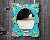 Tiffany Blue Wood Frame with mirror