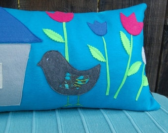 Bird Pillow - teal/aqua blue- recycled felt applique pillowcase
