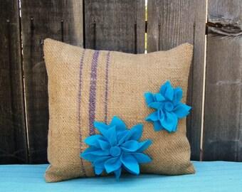 Burlap pillow case with Aqua Teal 3D Flowers