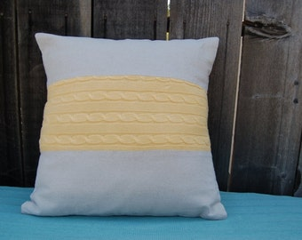 Pillow cover with Yellow Cabble Knit Stripe (20 x 20)