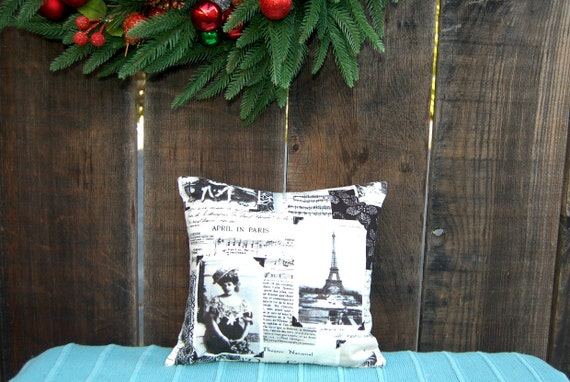 Shabby Chic Pillow Cover - French Newspaper print in Oatmeal- 12 x12 inch