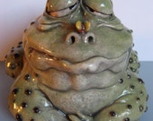Original OOAK Porcelain Male Frog Face Jug by Art of Two M's