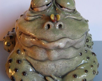 Original OOAK Porcelain Male Frog Face Jug