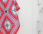 15% OFF SALE Nautical scarf in red, blue, and white