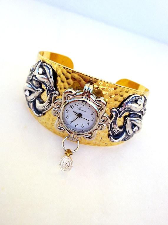 Gothic victorian cuff watch - floral silver on brass