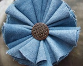 Blue denim flower pin brooch eco chic trashion fashion art to wear womens recycled shirt On Fire for handmade