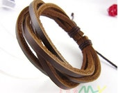 Brown Leather Bracelet Wristband Mens Womens f2