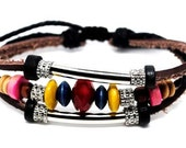Surfer Hemp Bead and Leather Bracelet Wristband Mens Womens a173