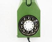 Vintage rotary telephone phone 70s Italian  green