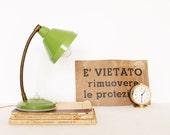 RESERVED /// Vintage olive green gooseneck table lamp