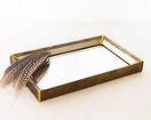 Vintage antique gold mirrored tray