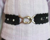 "American Girl 18 "" inch Doll Black elastic Belt with faux diamonds Accessories"