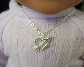 "American Girl 18 "" inch Doll and Girl Silver Arrow and  Heart Necklace Jewelry Accessories Bracelet Child"