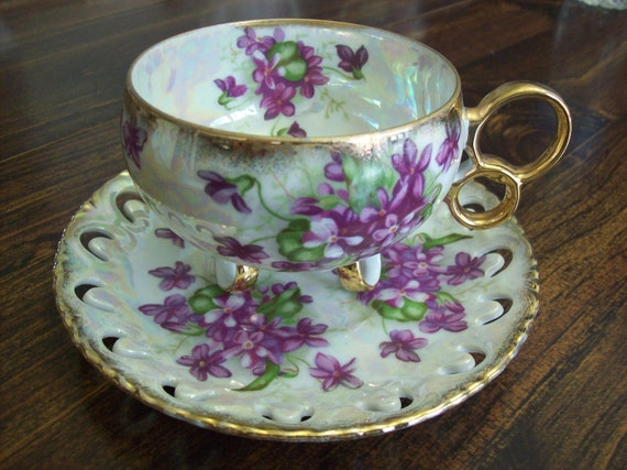 Vintage Royal Sealy bone china Teacup and Saucer footed 3 ring Gold Irridescent Violets