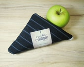 Reusable Shopping Bag, black pinstripe cotton, edged in white ribbon, used for shopping or free time.