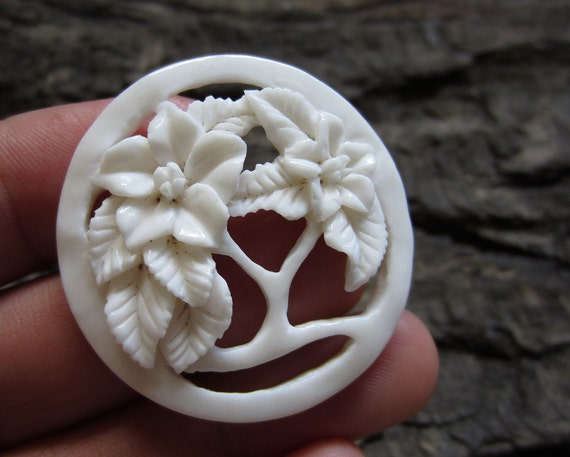 One of a kind Carved Bone tropical Flower , Focal Component, Natural Cabochon B1248