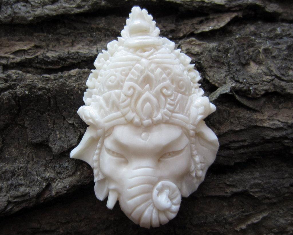Gorgeous deep relief ganesha carved buffalo bone pendant