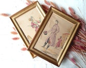 FRENCH VINTAGE FRAMED  . Wall hanging. Set of 2