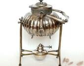 RESERVED FOR LIL Antique , vintage Tea Pot with warmer . Rocking Tea pot .Silver plated .Samovar Tea Pot .Shaby chic .