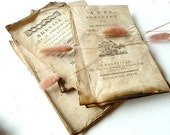 Paper ephemera .Shabby chic .Authentic French old paper . Antique .1790-1820.Beige.Eveteam