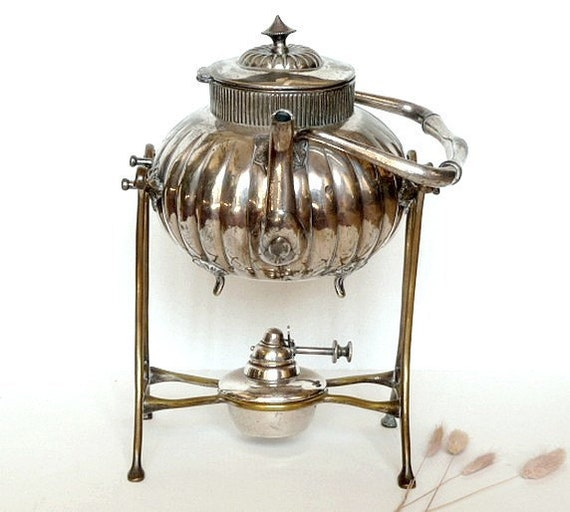 RESERVED FOR LIL Antique , vintage Tea Pot with warmer . Rocking Tea pot .Silver plated .Samovar Tea Pot .Shaby chic .