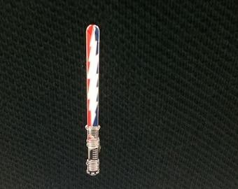 13 Point Lightning Bolt Lightsaber Pin -Glows In The Dark!!!- Red & Blue