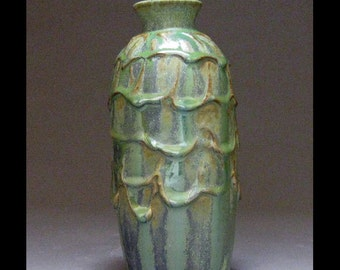 Slip Draped Green Vase