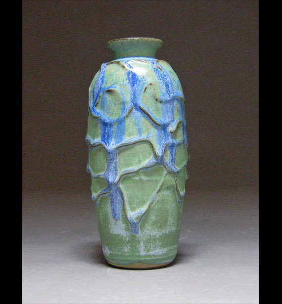Slip Draped Blue Vase