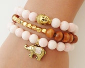 Dyed Pale Pink Jade SemiPrecious Gemstone Bracelet with Gold Elephant Charm