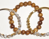 SALE-Crystal and Gold Faceted Czech Fire Polished Glass, Gold and Silver Tone Nuggets with Bayong Wood Beaded Bracelet Set